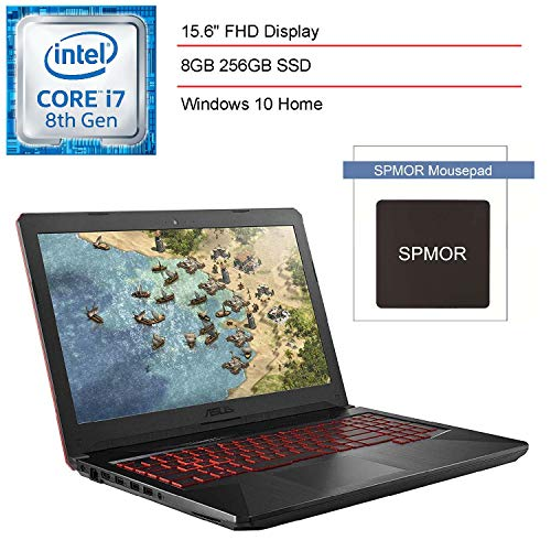 2020 Asus TUF 15.6' FHD VR Ready Gaming Laptop Computer, 8th Gen Intel Hexa-Core i7-8750H up to 4.10GHz, 8GB DDR4 RAM, 256GB SSD, GTX 1050 Ti, WiFi, Bluetooth 5.0, Windows 10, SPMOR Mousepad
