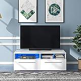 QWEPOI Moderner TV Lowboard mit LED-Leuchten, Hochglanz-TV-Ständer für 55-Zoll-Fernseher, Schrank Weiß mit Stauraum und 2 Schubladen, Sideboard für Wohnzimmer (16 Farben, Mit Fernbedienung)