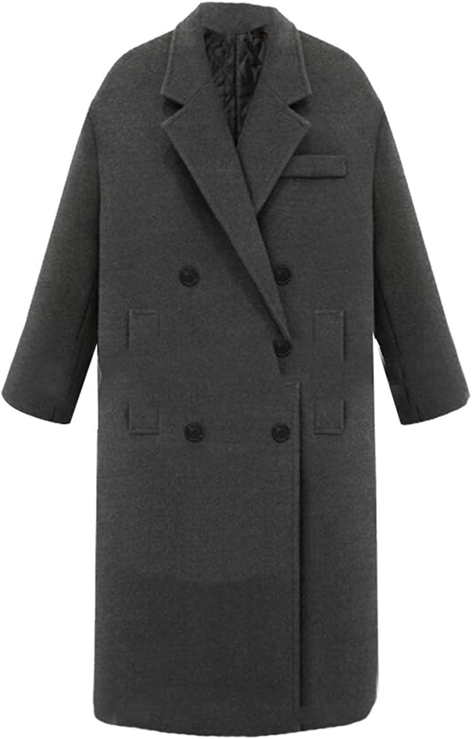 GAGA Women's Fashion Wool Trench Coat Winter DoubleBreasted Jacket