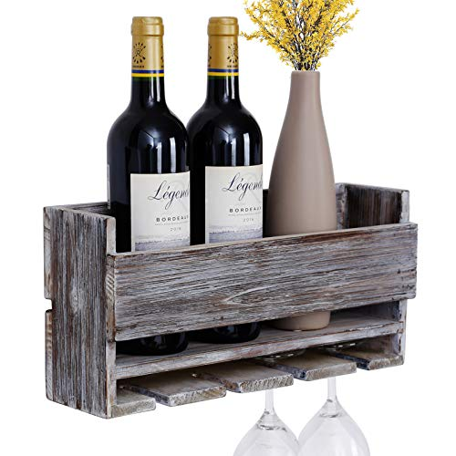 Vencipo Estantería de Vino de Pared de Madera para Organizador 4 Copas Vino Almacenaje, Estante Flotante Decoracion para Cocina de Armarios Vino, Botelleros Vino Accesorio para Sala de Estar. (Gris)