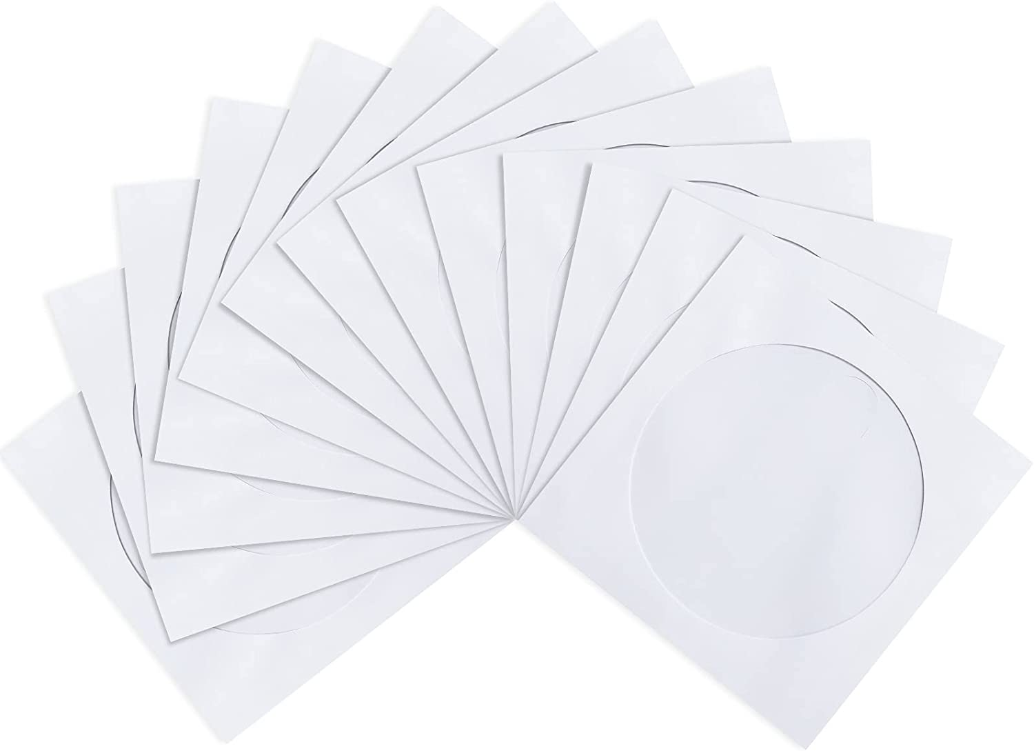 CD DVD Sleeves, Pacific Mailer DVD CD Media Paper Envelop Sleeves Holder with Clear Window Close Flap [120G Extra Thickness, White, Pack of 100]