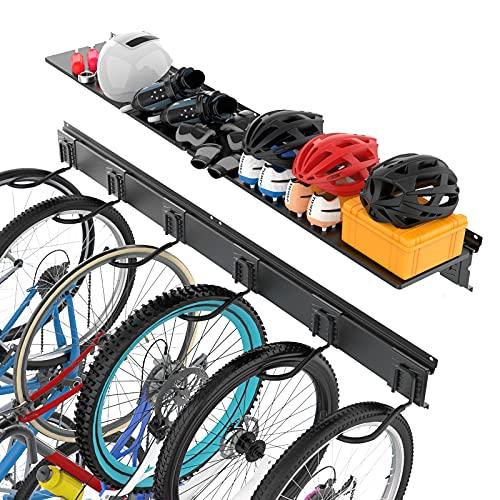 TORACK Bike Storage Rack, 6 Bike Wall Mount Organizer for Garage, Hooks for Indoor Bike Storage, Vertical Bicycles Garage Hanger, Home Space Saving