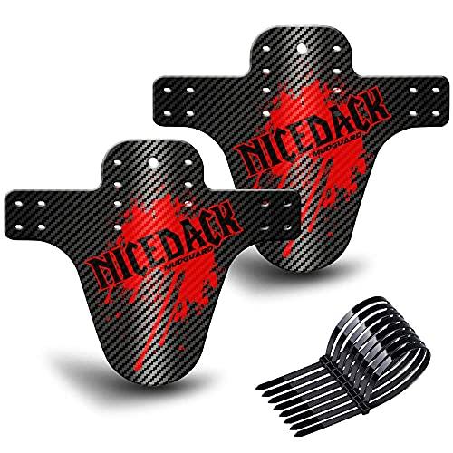 NICEDACK MTB Parafango 2 Pezzi, Compatibile Anteriore o Posteriore MTB Bici parafanghi Fit BMX 20 '' 26'27.5' 28'29 Pollici Mountain Bike e Fat Bike (Rosso)
