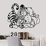 WERWN Anime Dibujos Animados Oso Pared calcomanía Amistad Pegatinas de Pared decoración del hogar Sala de Estar Dibujos Animados Tigre Pooh decoración de la habitación