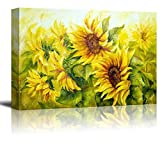 wall26 Canvas Prints Wall Art - Sunflowers in Oil Painting Style   Modern Wall Decor/Home Decoration Stretched Gallery Canvas Wrap Giclee Print & Ready to Hang - 24' x 36'