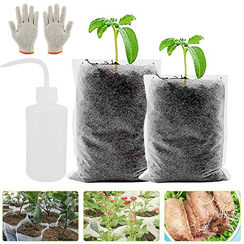 Pflanzsack aus Vliesstoff Pflanz Taschen Biologisch Abbaubar für Sämling Abbaubar Zuchtbeutel Perfekt für Aufzucht von Gemüse Blume Obst Pflanzen Kindergarten Zuhause