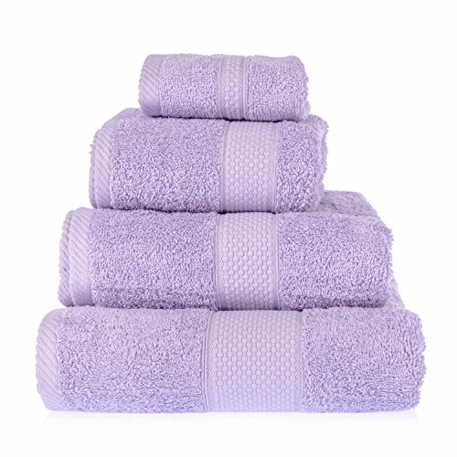 HOMESCAPES Toalla de Manos, 100% algodón Turco Absorbente y Suave, Color Lila 50 x 90 cm
