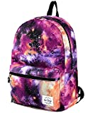 TRENDYMAX Galaxy Backpack for School Girls & Boys, Durable and Cute Bookbag with 7 Roomy Pockets, Purple