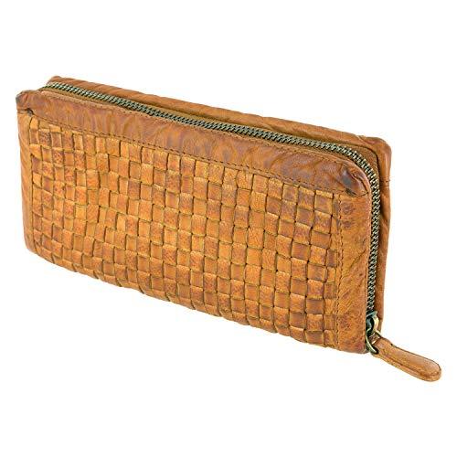 Damenbörse Brieftasche, Portemonnaie Mod. 5027 (20/10/ 3 cm), geflochten, gewaschenes Leder, hell tan