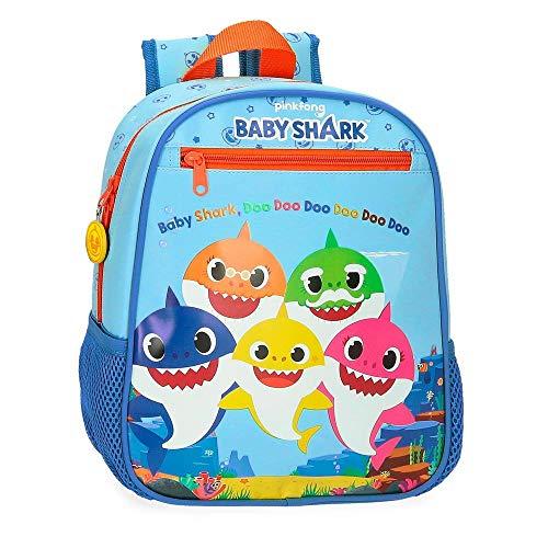 Baby Shark Shark Family Zaino asilo Azzurro 23x28x10 cms Microfibra 6.44L