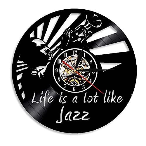Nzlazbc Música Disco de Vinilo Reloj de Pared Jazz Arte Decorativo para el hogar Música Corte con láser Decoración de Pared Reloj Colgante Reloj silencioso Amante de la música Regalo