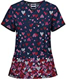Strictly Scrubs Women's Reigning Love Print Stretch Scrub Top (Large)
