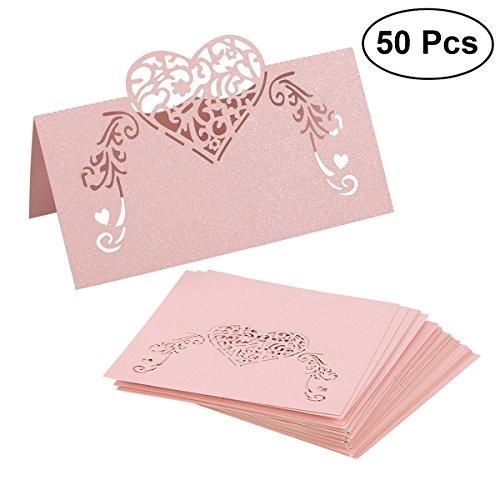 toymytoy cartes marque-places pour mariage avec cœur en rose 50pcs