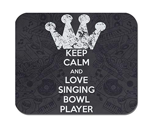 Makoroni - Keep Calm and Love Singing Bowl Player - Non-Slip Rubber - Computer, Gaming, Office Mousepad