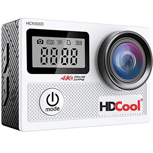 hdcool hcn50004K WiFi Cámara de acción con 170Grados Ultra Gran Angular de Deportes Impermeable cámara, Pantalla LCD DE 2,0Pulgadas con 0,96Pulgadas Parabrisas, Incluye 2Pilas