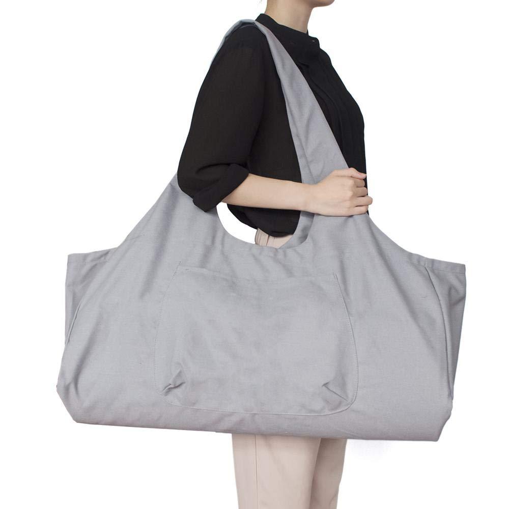 Bolso grande con cremallera para esterilla de yoga, bolsa con correa de transporte de yoga, bolsa de lona de algodón, 2 bolsillos adicionales para 2 alfombrillas de yoga, 2 toallas,gris: Amazon.es: Deportes