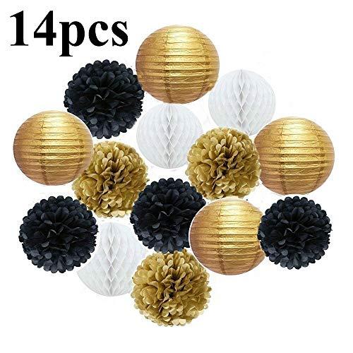 YuamMei Juego de 14 pompones de decoración para fiestas, incluye flores de papel, linternas de papel y bolas de panal de abeja para cumpleaños, celebraciones, bodas (negro + blanco + oro)
