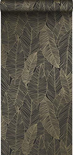 carta da parati foglie disegnate nero e oro - 139126 - di ESTAhome