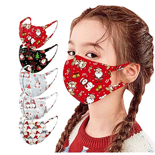 5PCS Kids Christmas Ice Silk Masks Xmas Theme Face Bandanas, Children Reusable Washable Face Protection_MASK_Covering, Cartoon Cute Snowman Print Mouth Covering Breathable Face Fabric - US Stock