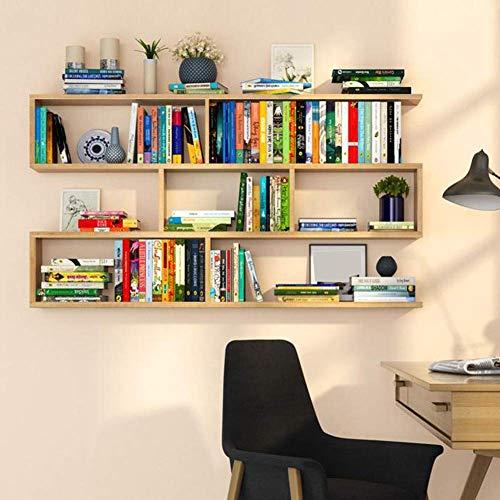 YOIL praktisches Bücherregal zur Wandmontage aus massivem Holz Bücherregal Heimdekoration in mehreren Größen 4 Farben stabil (Farbe: Holz, Größe: 120 x 97 x 20 cm) 60*97*20cm holz
