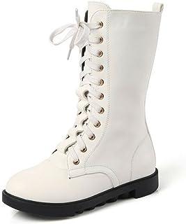 حذاء برقبة شتوية من الجلد للفتيات الصغيرات من DADAWEN بسحاب برباط لأعلى منتصف الساق (طفل صغير/طفل كبير)