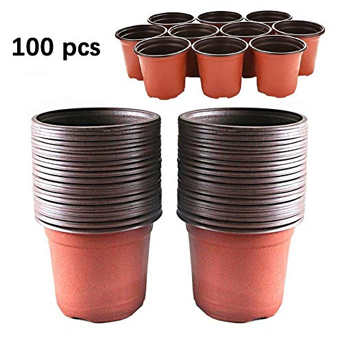 TLBBJ Flower Pot 100pcs Plante Pots de Fleurs en Plastique à partir à Deux Couleurs Universal Doux Fleurs Nursery Graines de Stockage Pot Container Jardin Décoration Durable