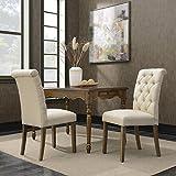 BELLEZE Set of (2) Dining Chair Modern Tufted Parson Chairs Armless Linen High-Backrest Cushion Seat w/Wooden Leg, Beige