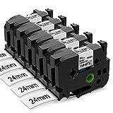 Nastro per Etichette Aken compatibile in sostituzione di Brother P-touch TZe251 Tze-251 24mm Etichette Nero su Bianco - per Brother Ptouch Etichettatrice PT 7600 P700 2430 D600 9700PC P750W, 5 pezzi