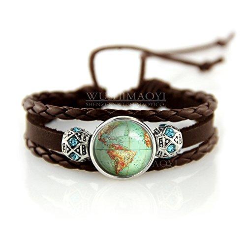 WUSHIMAOYI Vintage Globe Bracelets Planet Earth World Map Art Bracelet Vintage Globe Jewelry Vintage Bracelets Unique Gift Bracelet for Best Friends Bracelet BFF