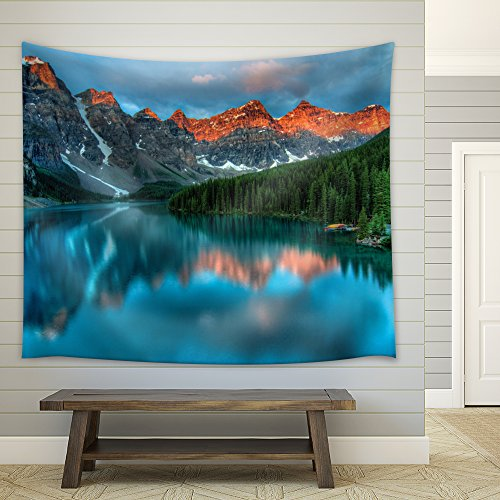 wall26 - Reflection of Mountains and Pine Trees on a Crystal Clear Lake - Fabric Tapestry, Home Decor - 68x80 inches
