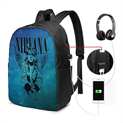 Nirvana Laptop Backpack with USB Charging Port & Headphone Jack, 17-inch Schoolbag Travel Backpack