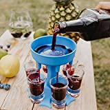SIX Ways Shot Glass Dispenser,Wine Glass Hanging Holder Stand Rack,Carrier Caddy Liquor Dispenser Gifts Drinking Games for Cocktail Party Get Togethers(blue)