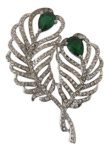 Brooch Boutique Silver Clear & Jade Green Double Peacock Feather Brooch Gift Boxed
