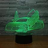 Muchas Opciones Cool Car Sports 3D Night Light Novelty 7 Cambio De Color Color Led Light De Escritorio 3D Desk Slide Boy Gift
