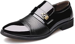 XIGUAFR Chaussure en Cuir d'uniforme Habillée de Mariage Pointue Homme Basse Souple Chaussure a Enfiler de Travail Décontr...