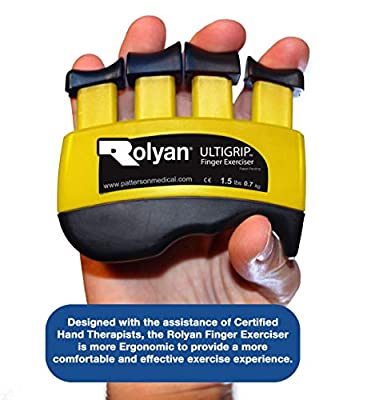 Rolyan - 42035 Ultigrip Finger Exercisers, Yellow, 1.5-Pounds, Finger & Grip Strengthener for Physical Therapy, Ergonomic Hand Workout Aid, Portable Hand Exerciser for Home, Clinic, Rehabilitation from Patterson Medical Holdings Inc.