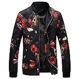RYSLJJWCZ Frühling Herbst Bomberjacke Männer Floral Bedruckte Mode Slim Fit Mens Casual Jacken Langarm Herren Windbreaker Coat Männlich @ Red_3XL