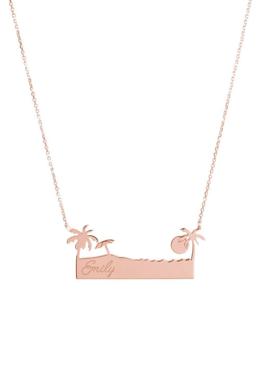 Palm Tree Bar Necklace Custom Engraved 14K Name 9K Pendant 18K Over Import item handling