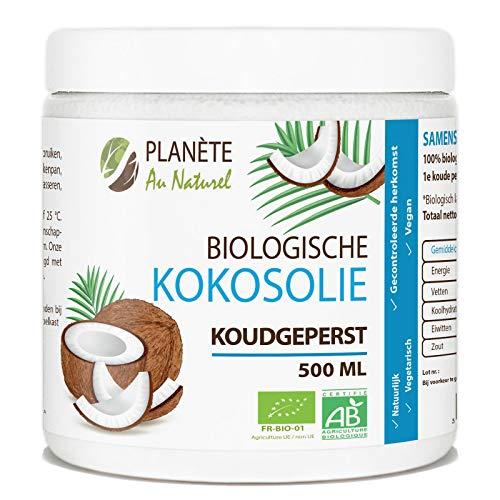 Biologische Kokosolie - 500 ml - Geschikt voor Huid, Haar en Voeding - 100% vierge, puur en biologisch