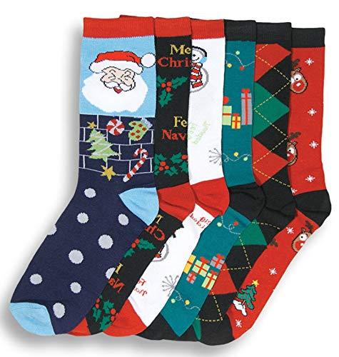 11. Colorful Printed 6 Pairs Socks for Christmas