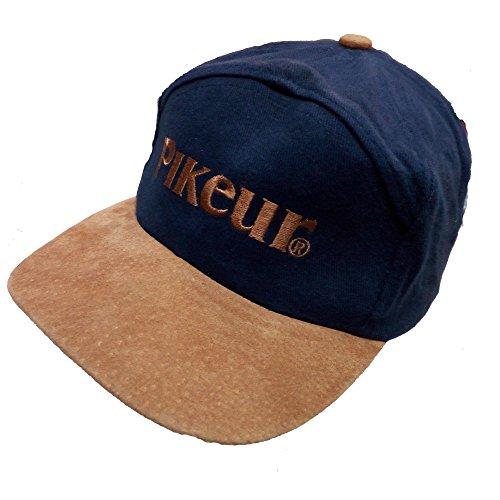 Pikeur Exklusive Herren Kappe Cap Logo und Kappenschirm mit Lederüberzug (One Size, Navy, Beige)