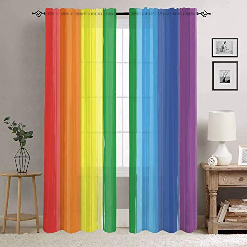 Manerly Sheer Curtains for Bedroom Living Room, Rainbow Color Paint Splash Print Window Curtains 54W x 84L Inches, 2 Panels