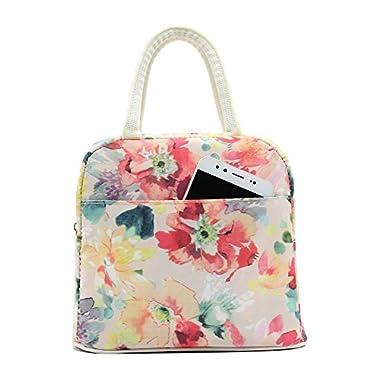 Mziart Insulated Lunch Bag Travel Picnic Box Handbag Waterproof Cosmetic Tote Bag for Women Girls Kids (Flowers)