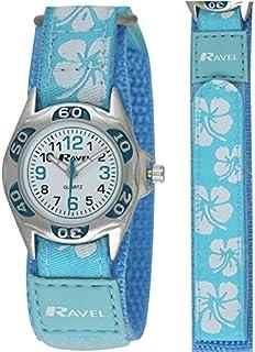 Ravel Girls Blue Hibiscus Velcro Strap Watch R1507.21