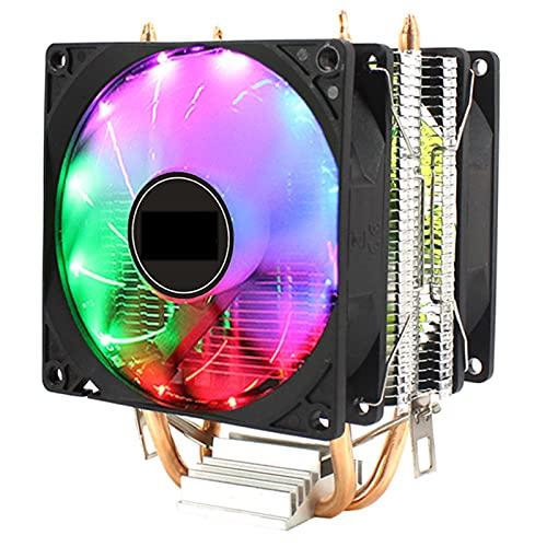 CPU Cooler PC Sistema de enfriamiento del Ventilador 3Pin 2 Tubo de Cobre 90mm Fans para LGA 775 1150 1151 1155 1156 1356 1366 y Motherboard AM4