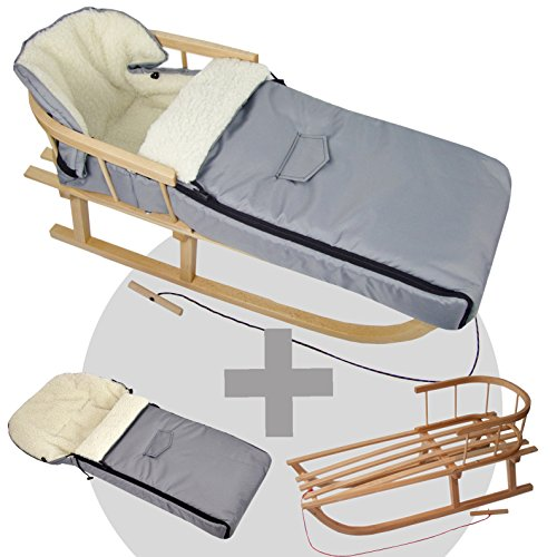 BambiniWelt24 BAMBINIWELT combi-aanbieding houten slee met rugleuning & trekkoord + universele wintervoetenzak (90 cm), geschikt voor babyschaal, kinderwagen, buggy, wol uni (lichtgrijs)
