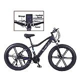 TANCEQI 350W Bicicleta Eléctrica para Hombre Mountain Mountain E-Bike 27 Velocidades 26 Pulgadas Fat Tire Road Bicycle Beach/Snow Bike con Freno De Disco Y Horquilla,Negro