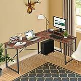 Cyfie - Escritorio de computadora en forma de L, escritorio de esquina para dos personas, escritorio largo de trabajo transformable de 95 '', mesa de juegos con monitor + soporte para CPU, orificio de gestión de cables para estación de trabajo, oficina en casa, estudio de estudio