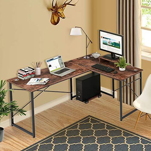 Cyfie L-Shaped Computer Desk, Two Person Corner Writing Desk, 95