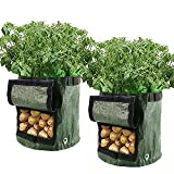 <span class='highlight'><span class='highlight'>Librao</span></span> 2 Pack 7 Gallon Planting Potato Grow Bags Waterproof PE Gardening Vegetable Planter Container with Flap and Strap Handles, Bottom Holes for Optimum Root Growth